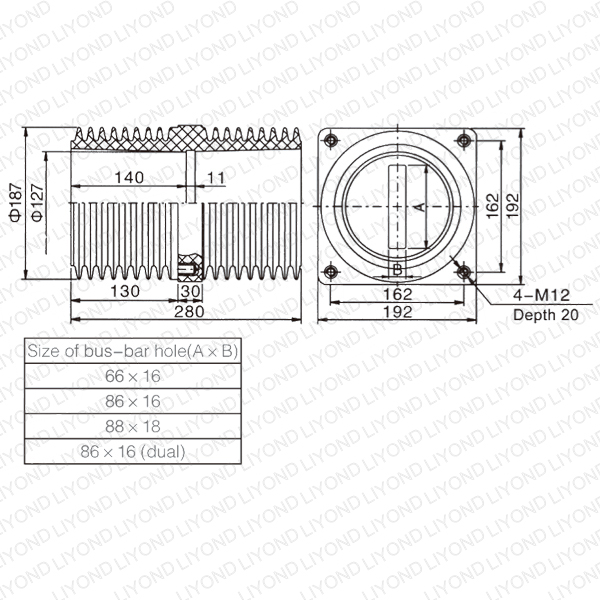 24кВ Втулка LYC150 Крытый изоляционной оболочкой для распределительных щитов
