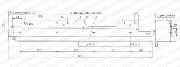 5XS.260 Guide rail in switchgear