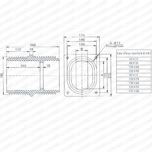 APG высокое напряжение LYC148 эпоксидная смола стены втулка