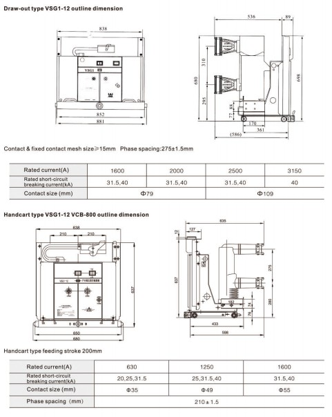 draw out type VSG1-12 indoor AC Solid-Encapsulated high voltage vacuum circuit breaker for switchgear 12kV