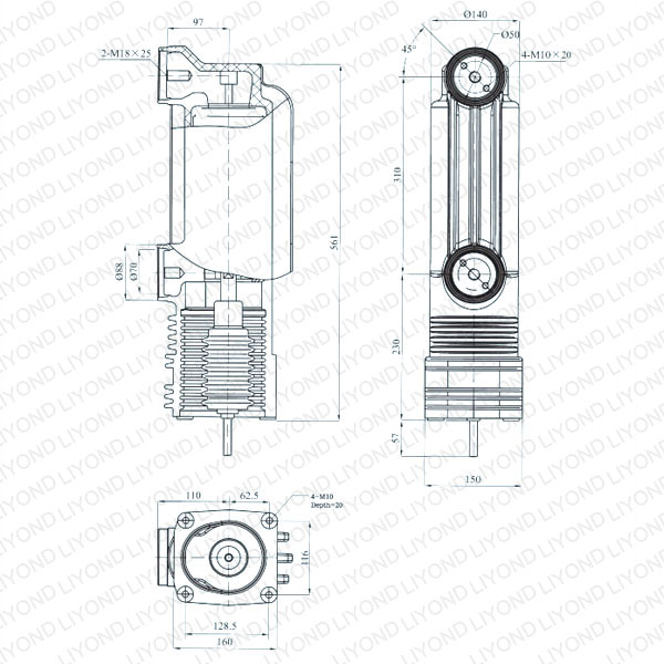 drawing Vacuum embedded pole for vacuum circuit breaker 24kV EEP-24/2000-31.5