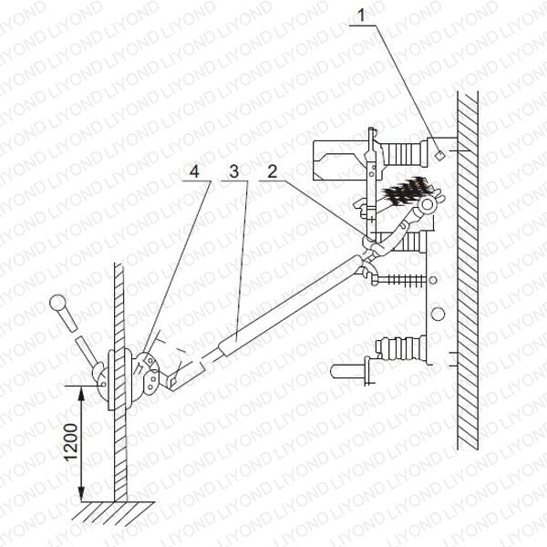 Diagram 4 CS6 Operating mechanism mounting drawing