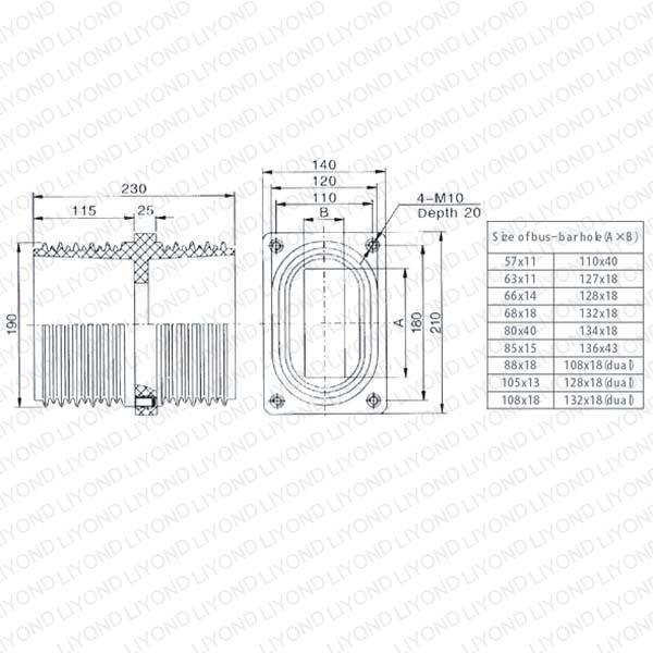Изолятор проходной изолятор LYC146 на AGP литья пути для распределительных щитов