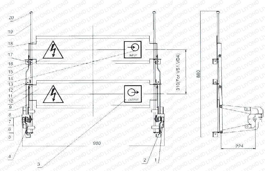 Shutter mechanism for 1000mm width switchgear 5XS.320.011