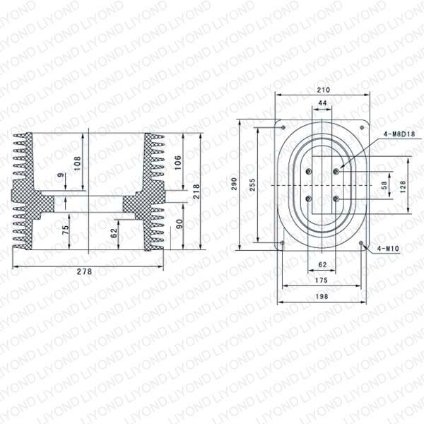 Уолл-трубка LYC152 эпоксидная изолятор для ABB Комплектные распределительные устройства 24KV