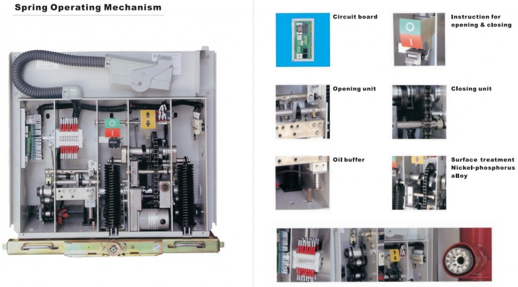details ZN63-12(VS1-12)indoor high voltage vacuum circuit breaker for switchgear 12kV