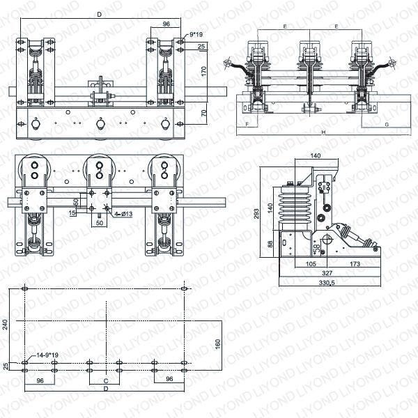 Крытый высокого напряжения AC электрический выключатель заземления JN17-12/50