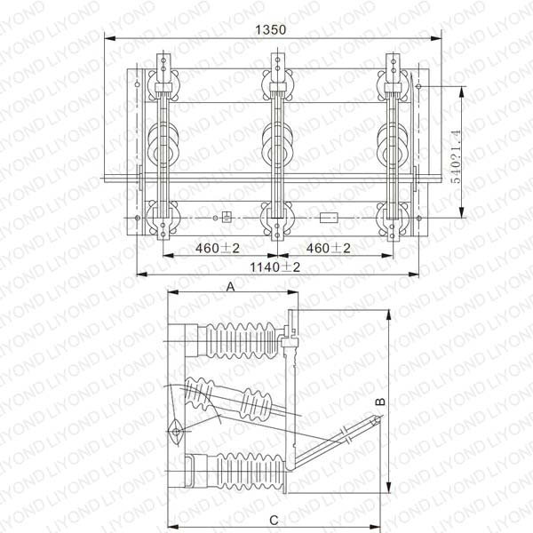 Diagram 1 GN27 40.5 Indoor high voltage disconnect switch
