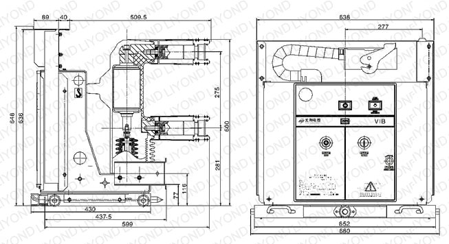 outline 12kv with embedded poles indoor HV vacuum circuit breaker for switchgear