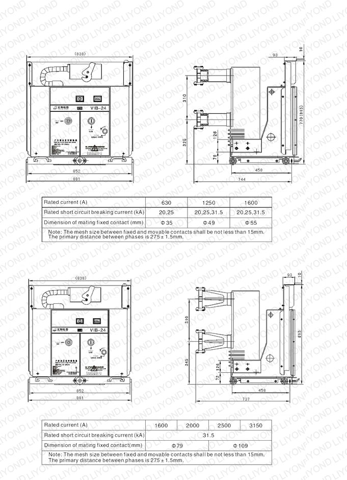 outline drawing parameters 24kv with common insulated cylinder indoor high voltage VCB for switchgear