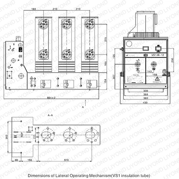 VS1/R-12 indoor high voltage vacuum circuit breaker with lateral operating mechanism