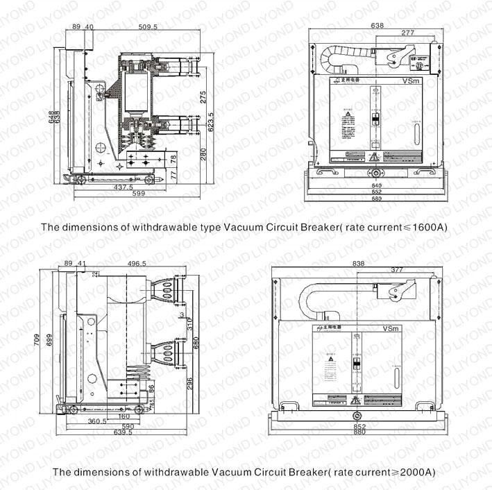VSm-12 indoor high voltage vacuum circuit breaker for 12kV switchgear