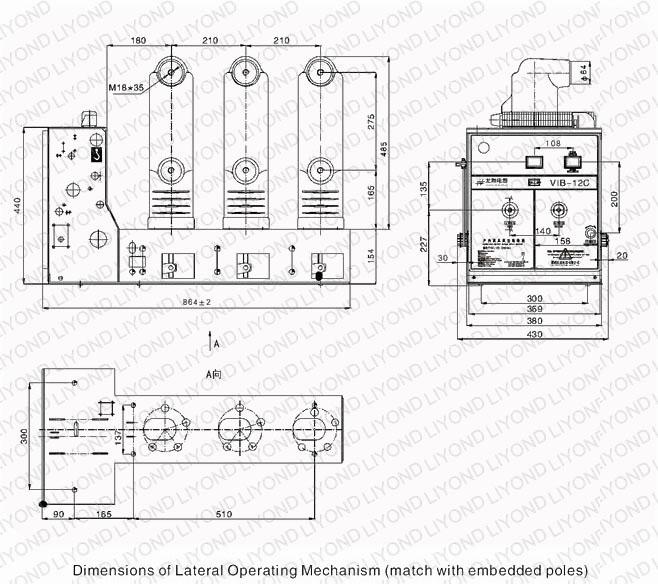 outline 12C indoor HV vacuum circuit breaker for switchgear