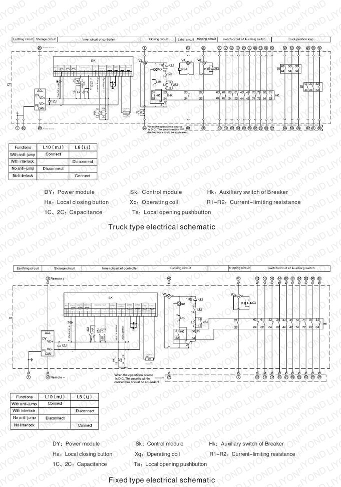 typical wiring diagram 12kv with embedded poles indoor HV vacuum circuit breaker for switchgear