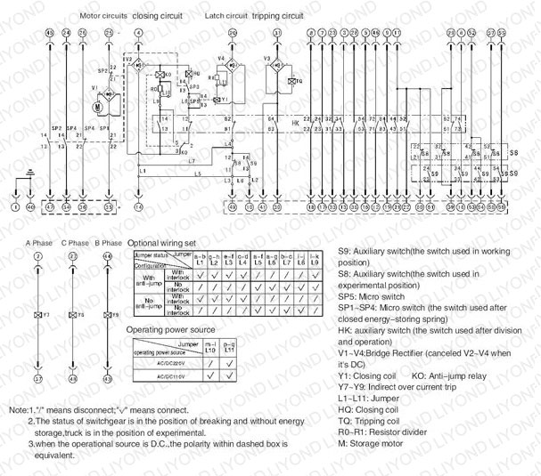 typical wiring diagram 24kV with Embedded poles indoor high voltage vacuum circuit breaker for switchgear