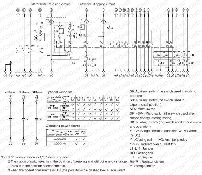 typical wiring diagram 24kv with common insulated cylinder indoor high voltage VCB for switchgear
