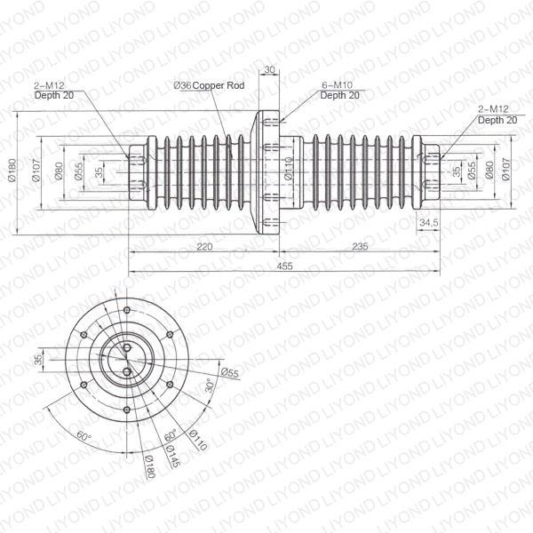 1250-Korea-short-LYC208-insulation-wall-bushing-1