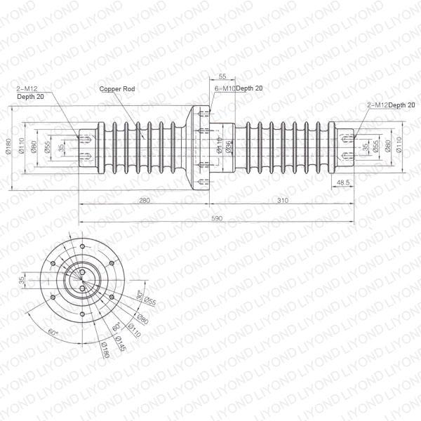 1250A-Korea-long-LYC209-insulation-wall-bushing-1